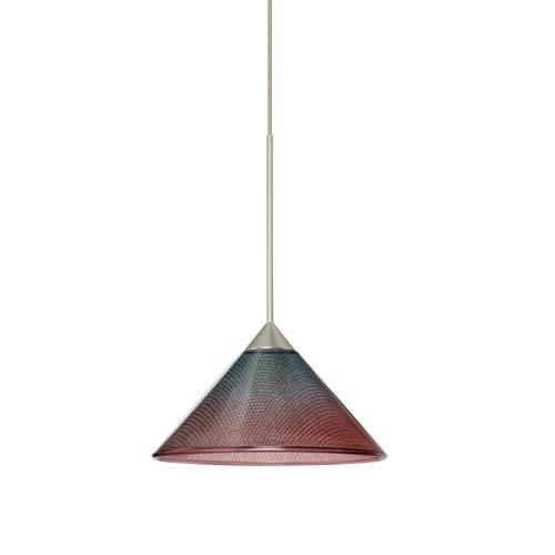 Besa Lighting Kona Satin Nickel LED Mini Pendant with Flat Canopy and Bi-Color Glass