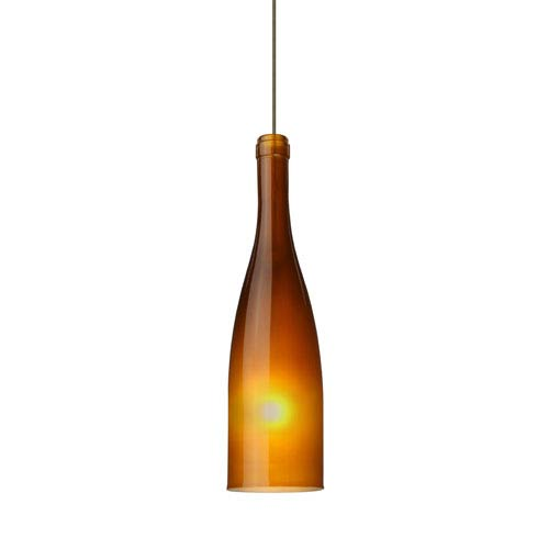 Besa Lighting Botella 10 Bronze Halogen Mini Pendant with Flat Canopy and Amber-Frost Glass