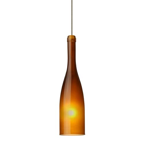Besa Lighting Botella 12 Bronze LED Mini Pendant with Flat Canopy and Amber-Frost Glass