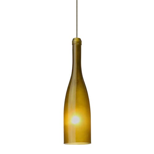 Botella 12 Bronze Halogen Mini Pendant with Flat Canopy and Green-Frost Glass