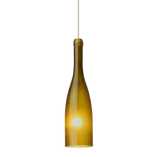 Besa Lighting Botella 12 Satin Nickel LED Mini Pendant with Flat Canopy and Green-Frost Glass