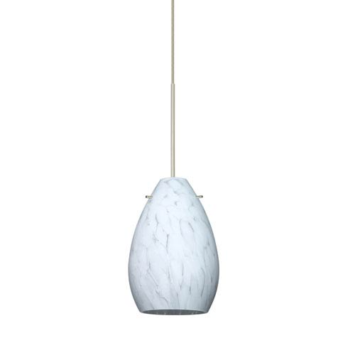 Besa Lighting Pera Satin Nickel Halogen Mini Pendant with Flat Canopy and Carrera Glass