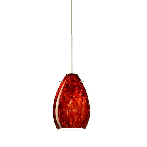 Pera Satin Nickel Halogen Mini Pendant with Flat Canopy and Garnet Glass