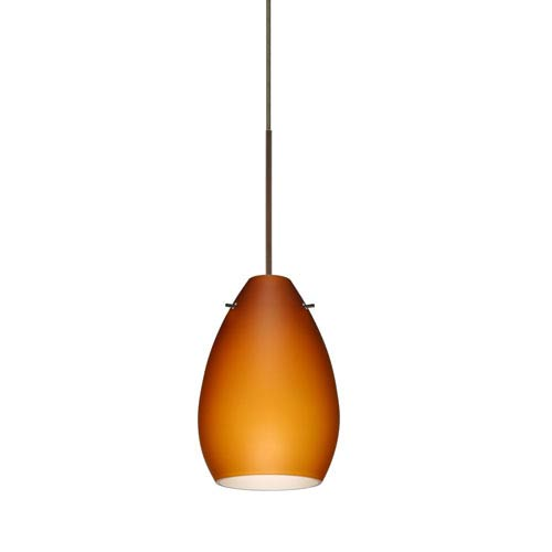Pera Bronze LED Mini Pendant with Flat Canopy and Amber Matte Glass