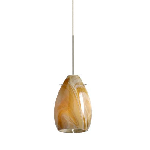 Pera Satin Nickel LED Mini Pendant with Flat Canopy and Honey Glass