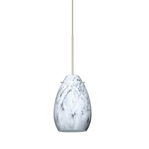 Besa Lighting Pera Satin Nickel LED Mini Pendant with Flat Canopy and Marble Grigio Glass