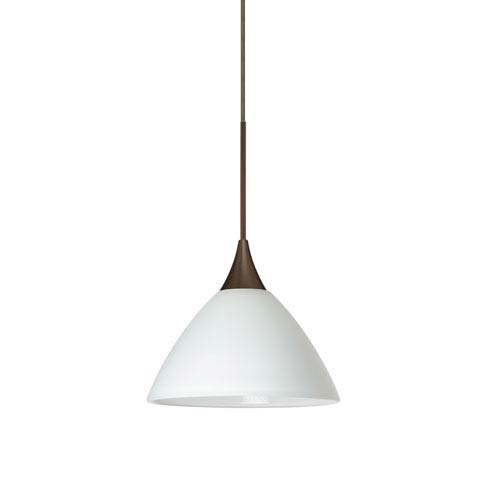 Besa Lighting Domi Bronze LED Mini Pendant with Flat Canopy and White Glass
