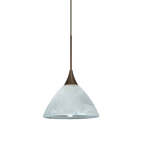 Besa Lighting Domi Bronze LED Mini Pendant with Flat Canopy and Marble Glass