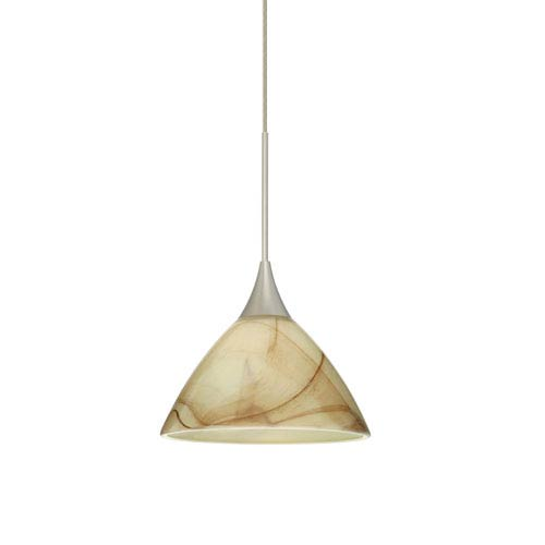 Besa Lighting Domi Satin Nickel LED Mini Pendant with Flat Canopy and Mocha Glass