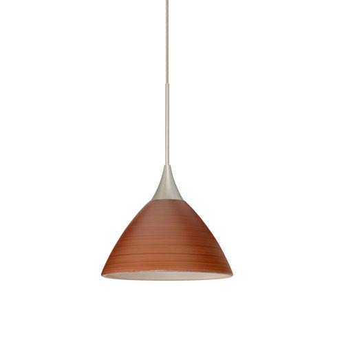 Besa Lighting Domi Satin Nickel LED Mini Pendant with Flat Canopy and Cherry Glass