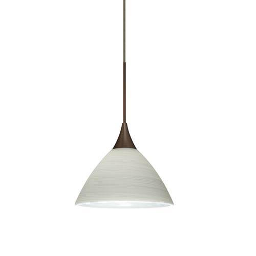 Besa Lighting Domi Bronze Halogen Mini Pendant with Flat Canopy and Chalk Glass