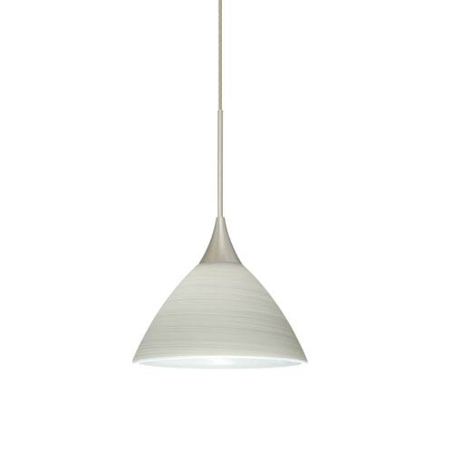 Besa Lighting Domi Satin Nickel LED Mini Pendant with Flat Canopy and Chalk Glass