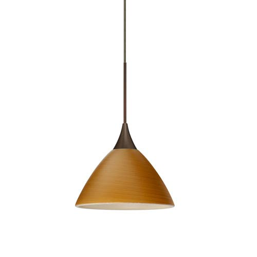 Domi Bronze LED Mini Pendant with Flat Canopy and Oak Glass