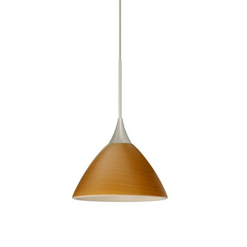Besa Lighting Domi Satin Nickel LED Mini Pendant with Flat Canopy and Oak Glass