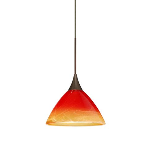 Domi Bronze LED Mini Pendant with Flat Canopy and Solare Glass