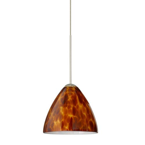 Besa Lighting Mia Satin Nickel LED Mini Pendant with Flat Canopy and Amber Cloud Glass