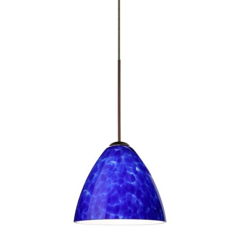 Besa Lighting Mia Bronze LED Mini Pendant with Flat Canopy and Blue Cloud Glass