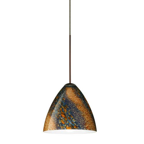 Besa Lighting Mia Bronze Halogen Mini Pendant with Flat Canopy and Ceylon Glass
