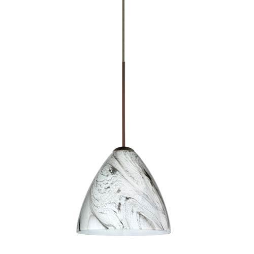 Mia Bronze LED Mini Pendant with Flat Canopy and Marble Grigio Glass