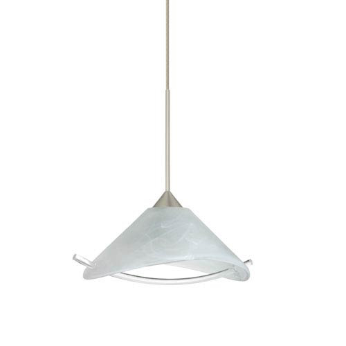 Besa Lighting Hoppi Satin Nickel LED Mini Pendant with Flat Canopy and Marble and Clear Glass