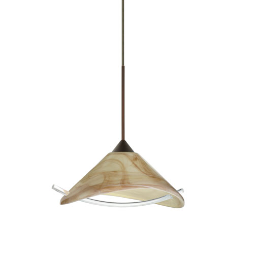 Besa Lighting Hoppi Bronze Halogen Mini Pendant with Flat Canopy and Mocha and Clear Glass