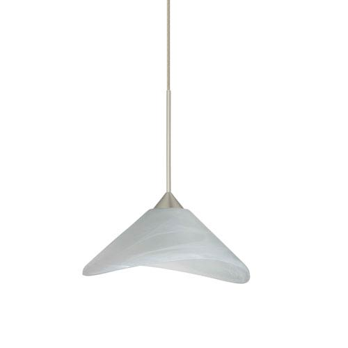 Besa Lighting Hoppi Satin Nickel LED Mini Pendant with Flat Canopy and Marble Glass