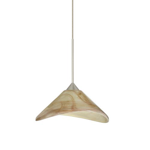 Besa Lighting Hoppi Satin Nickel LED Mini Pendant with Flat Canopy and Mocha Glass