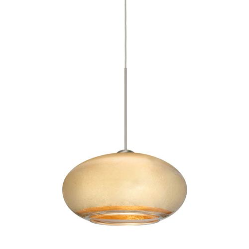 Besa Lighting Brio Satin Nickel LED Mini Pendant with Flat Canopy and Gold Foil Glass