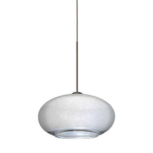 Besa Lighting Brio Bronze Halogen Mini Pendant with Flat Canopy and Silver Foil Glass