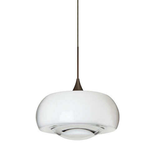 Besa Lighting Focus Bronze Halogen Mini Pendant with Flat Canopy and Clear Glass