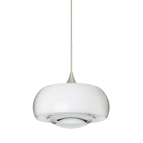 Besa Lighting Focus Satin Nickel LED Mini Pendant with Flat Canopy and Clear Glass
