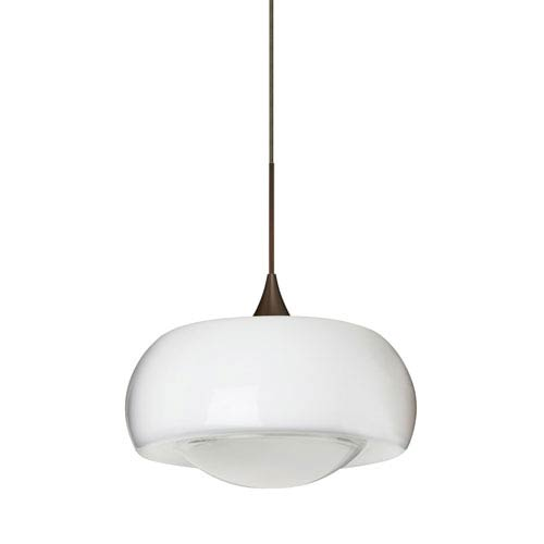 Focus Bronze LED Mini Pendant with Flat Canopy and Frost Glass