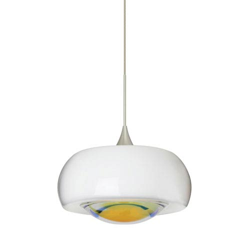 Besa Lighting Focus Satin Nickel Halogen Mini Pendant with Flat Canopy and Warm Dicro Glass