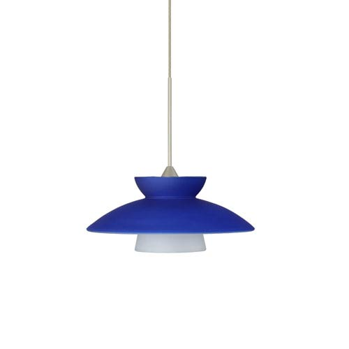 Trilo Satin Nickel LED Mini Pendant with Flat Canopy and Blue Matte Glass