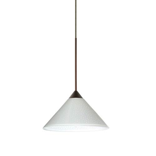 Besa Lighting Kona Bronze LED Mini Pendant with Flat Canopy and White Starpoint Glass