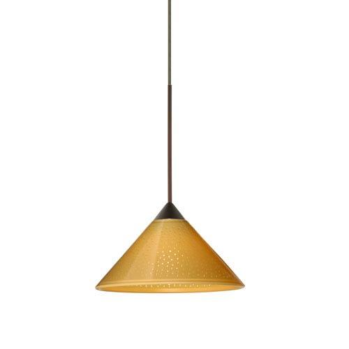 Besa Lighting Kona Bronze LED Mini Pendant with Flat Canopy and Mango Starpoint Glass