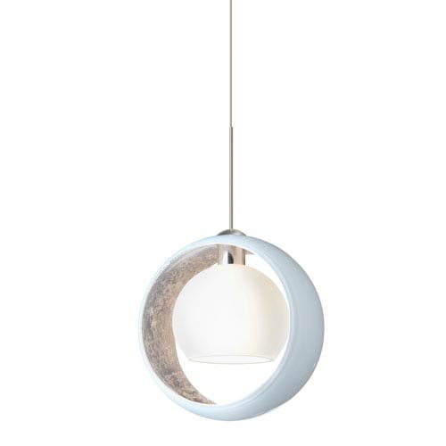 Pogo Satin Nickel LED Mini Pendant with Flat Canopy and White and Inner Silver Glass