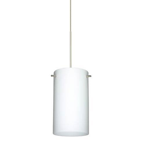 Besa Lighting Stilo Satin Nickel LED Mini Pendant with Flat Canopy and Opal Matte Glass