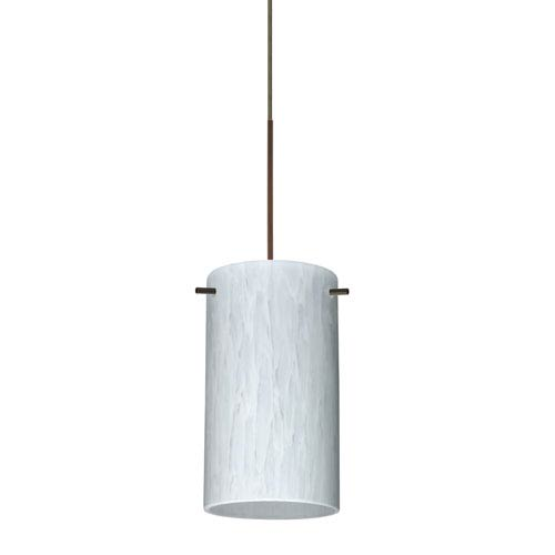 Besa Lighting Stilo Bronze Halogen Mini Pendant with Flat Canopy and Carrera Glass