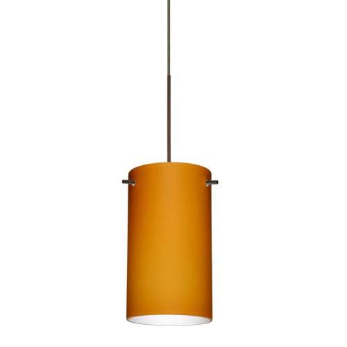 Besa Lighting Stilo Bronze Halogen Mini Pendant with Flat Canopy and Amber Matte Glass