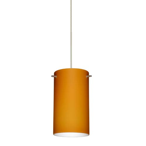 Stilo Satin Nickel LED Mini Pendant with Flat Canopy and Amber Matte Glass