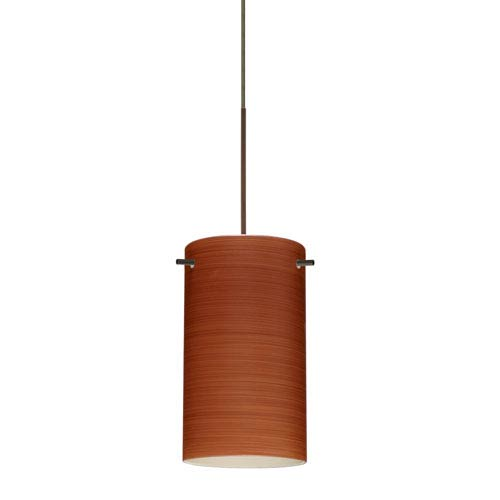 Besa Lighting Stilo Bronze Halogen Mini Pendant with Flat Canopy and Cherry Glass