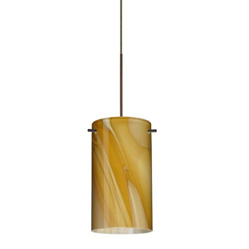 Stilo Bronze LED Mini Pendant with Flat Canopy and Honey Glass