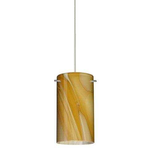Stilo Satin Nickel LED Mini Pendant with Flat Canopy and Honey Glass