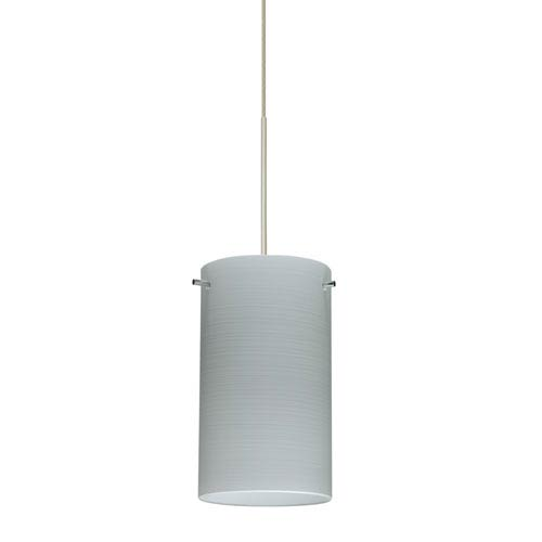 Besa Lighting Stilo Satin Nickel LED Mini Pendant with Flat Canopy and Chalk Glass