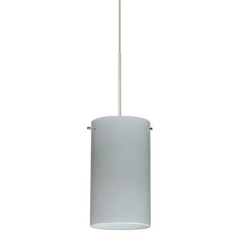 Besa Lighting Stilo Satin Nickel Halogen Mini Pendant with Flat Canopy and Chalk Glass