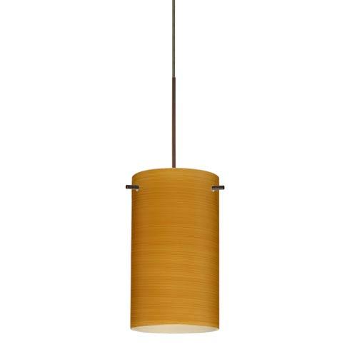 Besa Lighting Stilo Bronze LED Mini Pendant with Flat Canopy and Oak Glass
