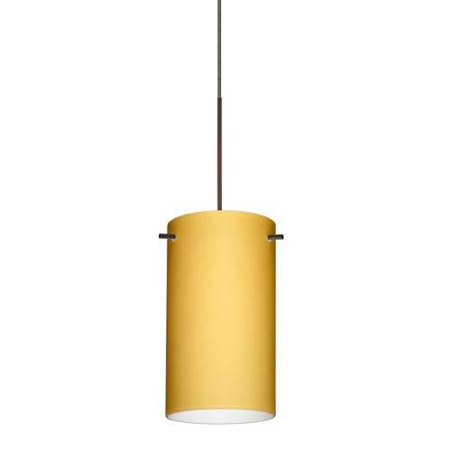 Besa Lighting Stilo Bronze LED Mini Pendant with Flat Canopy and Vanilla Matte Glass