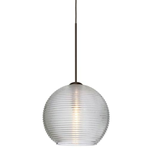Besa Lighting Kristall Bronze LED Mini Pendant with Flat Canopy and Clear Glass