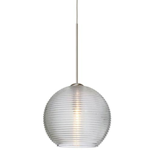Besa Lighting Kristall Satin Nickel Halogen Mini Pendant with Flat Canopy and Clear Glass